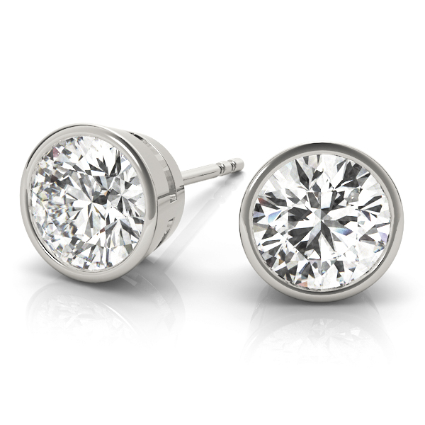 Round Bezel Stud Earrings 0.7 Ct.