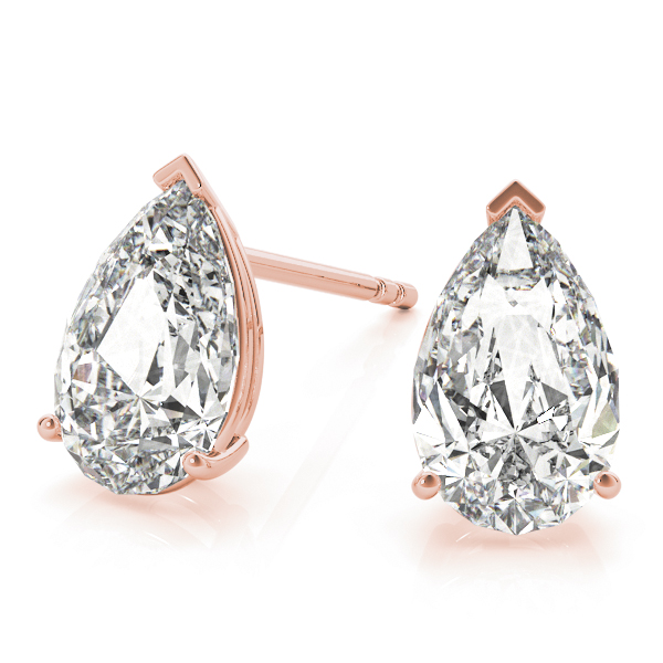 Pear Diamond Stud Earrings 0.3 Ct. Rose Gold