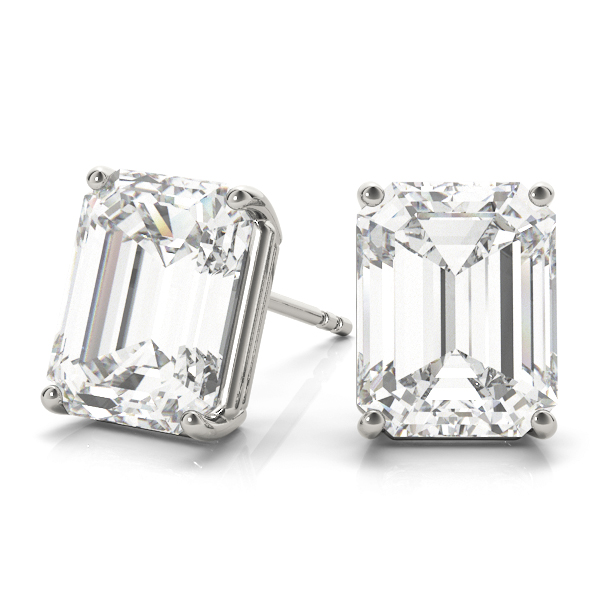One Of A Kind Emerald Cut Diamond Stud Earrings 1.01 Carat H VVS in 14 Karat White Gold