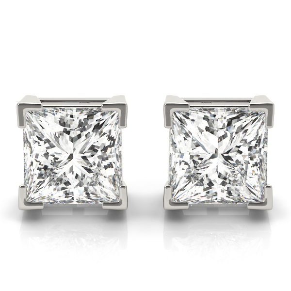 1 1/2 carats tcw. Princess Diamond Stud Earrings in Platinum F, VS2