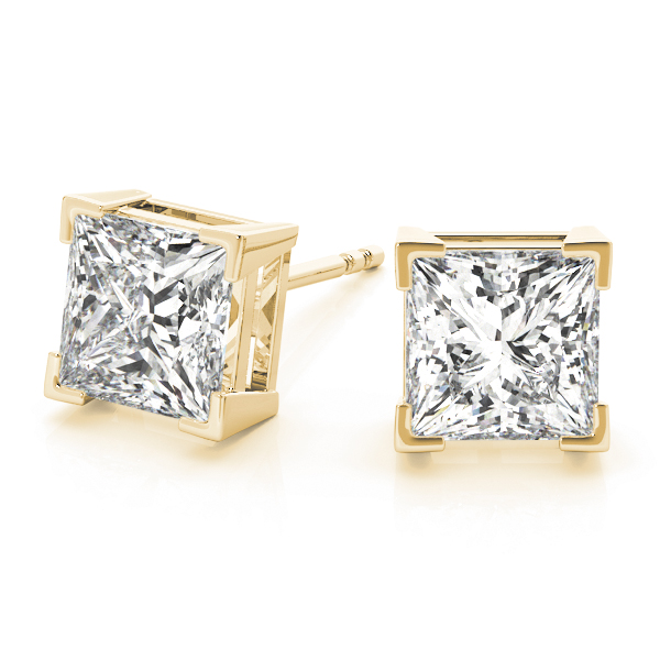 3/4 tcw. Princess Diamond Stud Earrings in Yellow Gold H, SI2