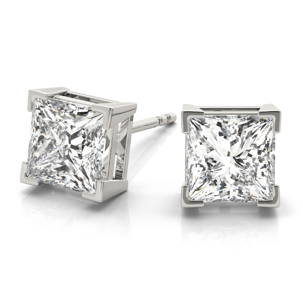 3/4 tcw. Princess-Cut Diamond Earrings in Platinum H, VS2