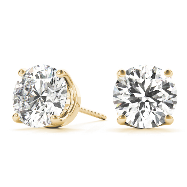 Round Earrings 0.66 Ct. Yellow Gold
