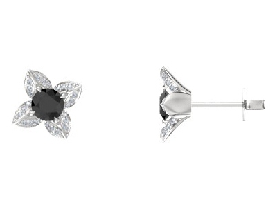 Black Diamond Lotus Floral Earrings