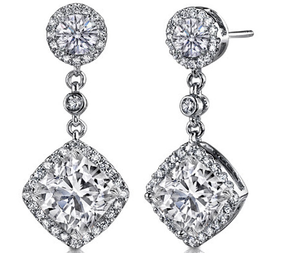 Diamond Dangling Earrings 1.1 tcw in 14K White Gold