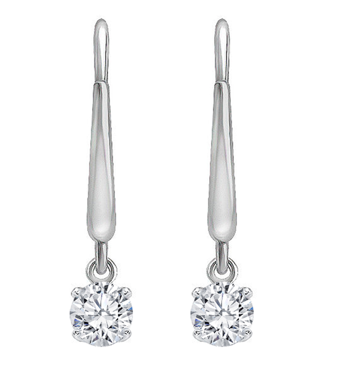 Dangling Diamond Stud Earrings 1/3 carat TW in 14K White Gold