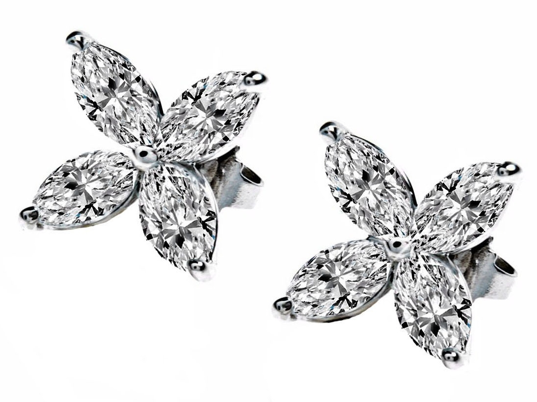 Victoria Marquise Diamonds Fl Earrings 1 2 Tcw In 14k White Gold