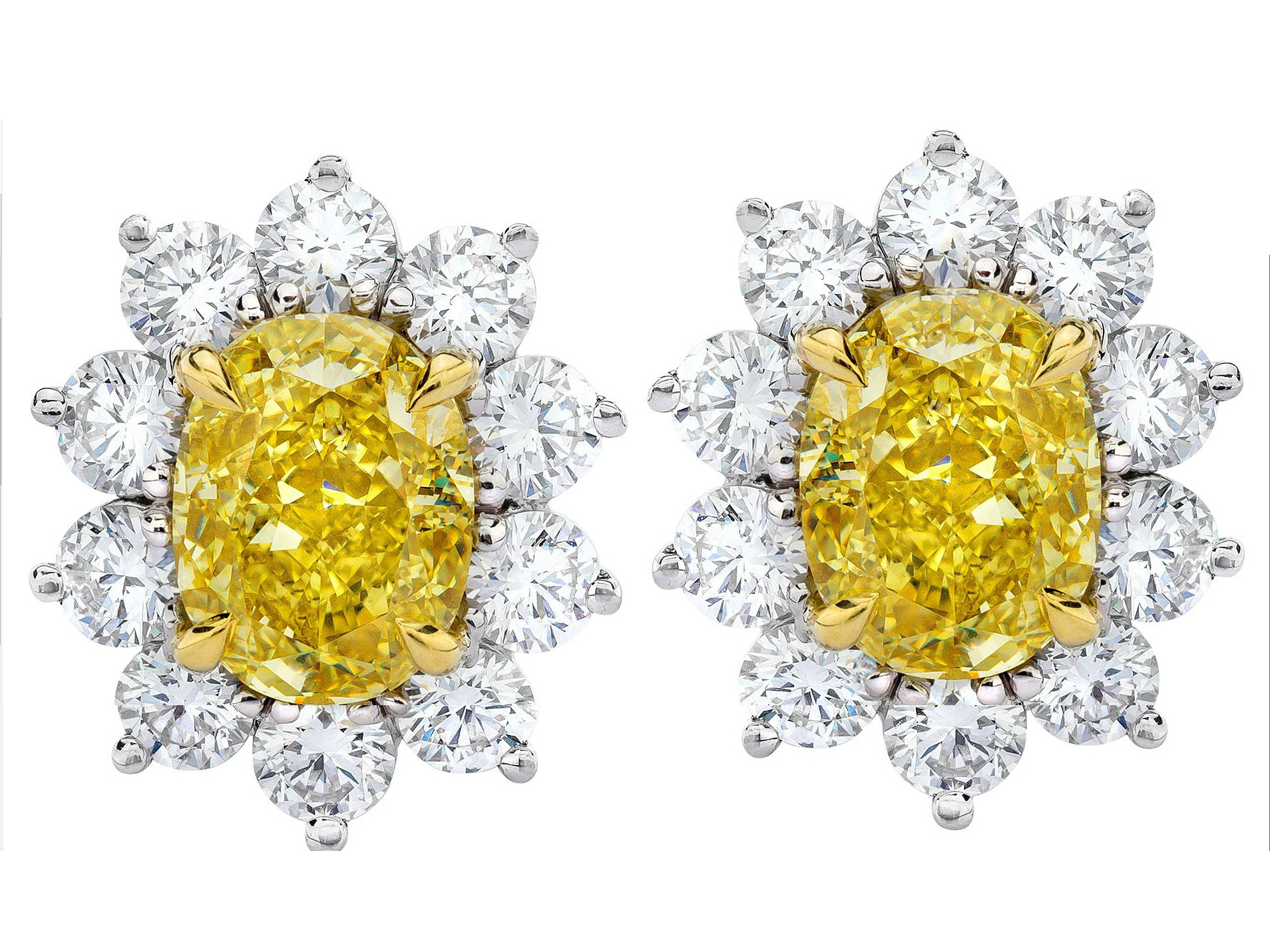 Diamond Earrings Large Fancy Yellow 3 02