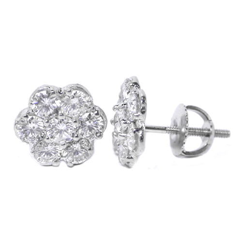 Round Diamond Flower Stud Earrings 2.13 tcw.