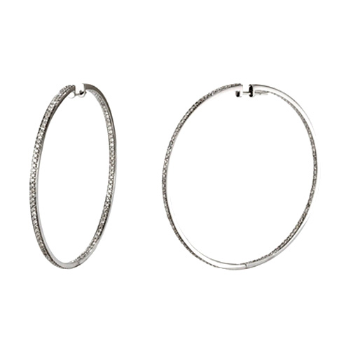 2.88 tcw. Hoop Diamond Earrings in 14 Karat white gold, H SI