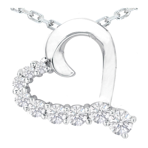 Nine Diamond Heart Pendant in 14 Karat White Gold (0.75 tcw.)