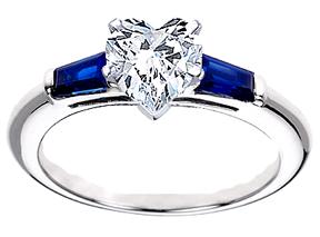 Heart Shape Diamond Engagement Ring with Blue Sapphire tapered baguette side stones