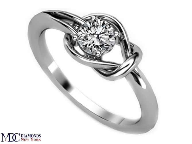 European Engagement Ring Love Knot Solitaire Diamond Engagement