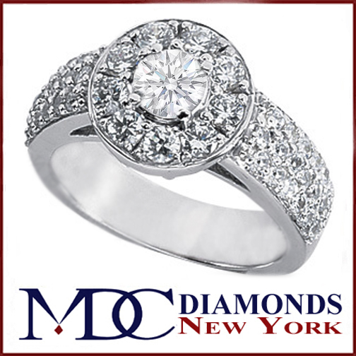1.27 Carat Round Diamond Vintage Style Cathedral Engagement Ring