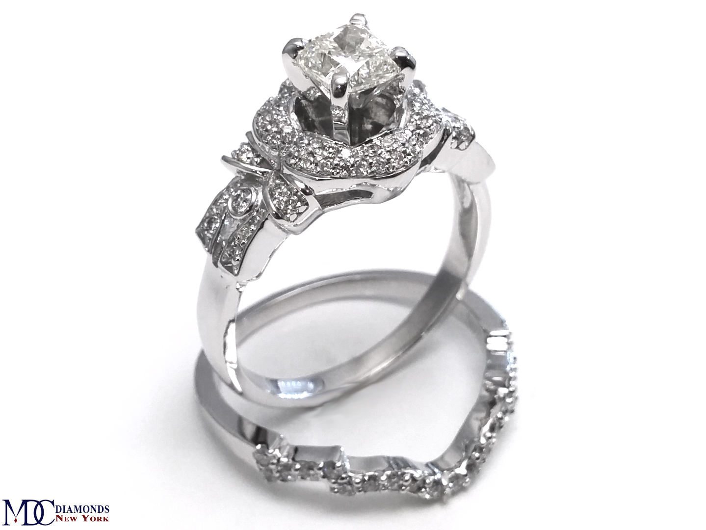 wedding rings pictures engagement ring cushion bows amp flower engagement 1055