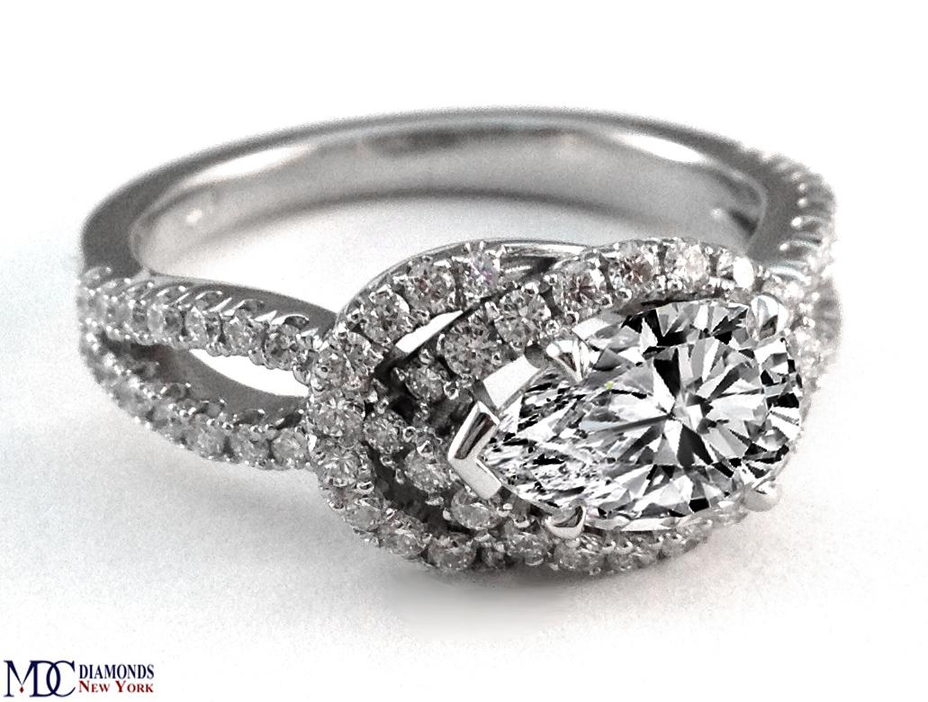 engagement ring love knot pear shape diamond engagement