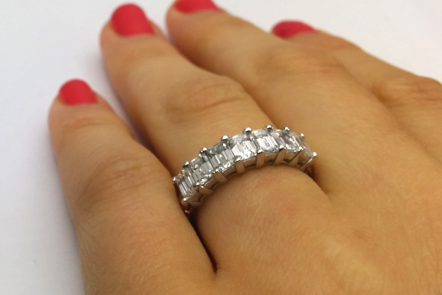 5bcceb677db2f Wedding Band - Hand Engraved Seven Stone Emerald Cut Wedding Ring in ...