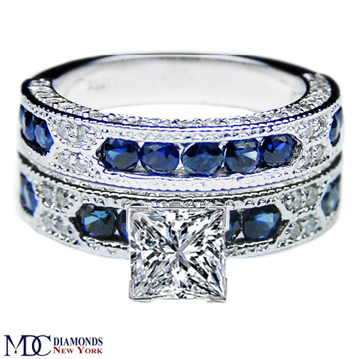 Engagement ring princess cut diamond vintage engagement for Wedding ring sets with sapphire accents