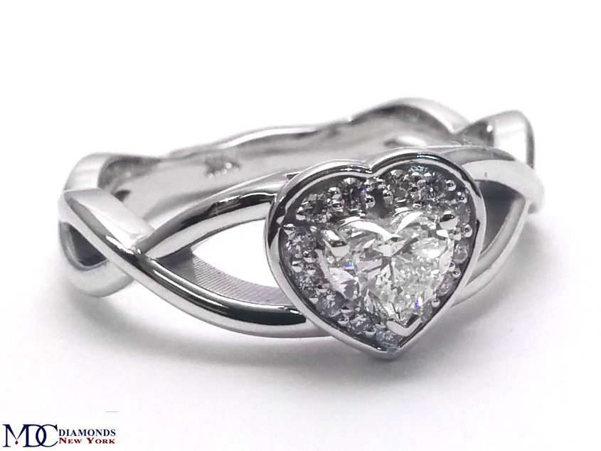 Engagement Ring Heart Shape Diamond Halo Engagement Ring Infinity