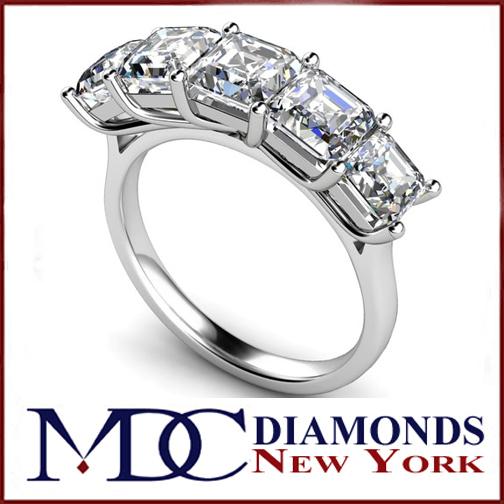 Wedding Band Five Stone Asscher Cut Square Emerald Wedding Ring