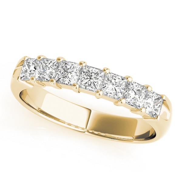 Eight Princess Diamond Wedding Band 2.72 Ct Yellow Gold