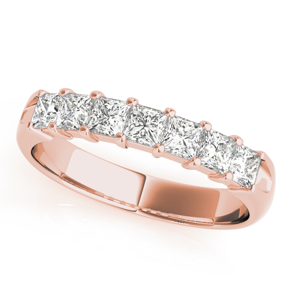Ten Princess Diamond Wedding Band 1.45 Ct Rose Gold
