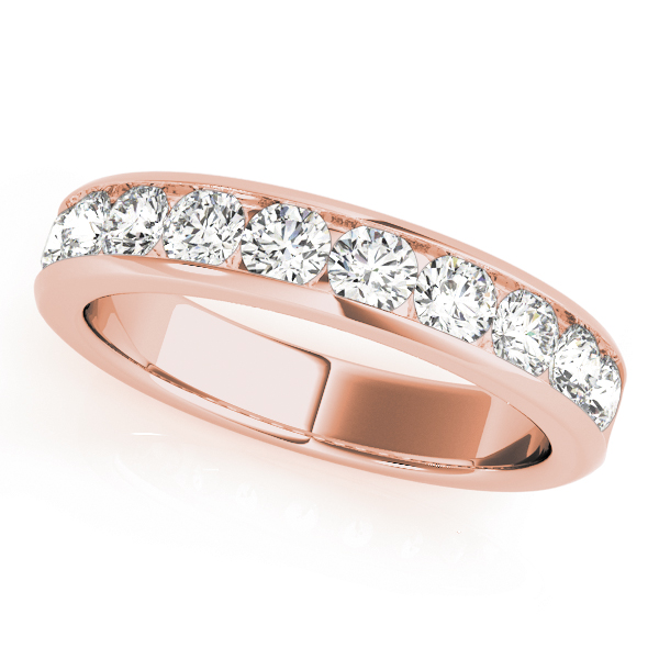 Channel Diamond Wedding Band 0.96 Ct Rose Gold