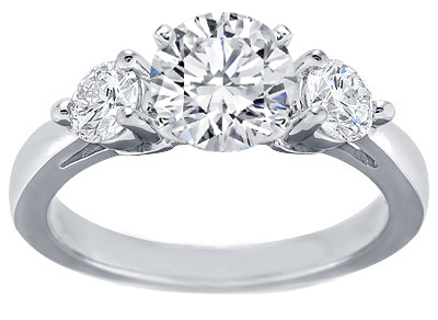 Platinum and Round Diamond Engagement Ring Setting for Larger Diamonds 0.60 tcw.