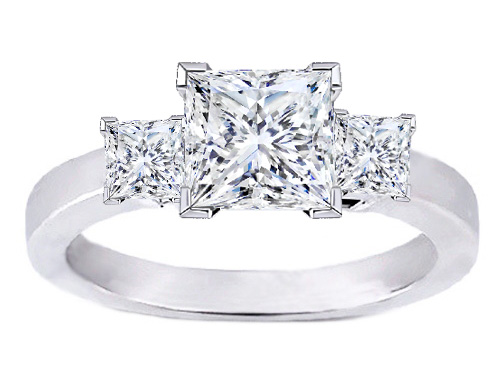 Platinum Princess Cut Diamond Engagement Ring Setting for Larger Diamonds 0.50 tcw.