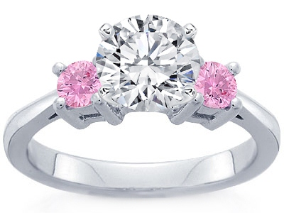 Diamond Engagement Ring with Round Pink Sapphire Accents 3.3mm in Platinum