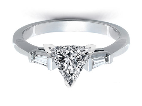 Platinum Engagement Ring with Tapered Baguette Diamond Accents 0.20 tcw.