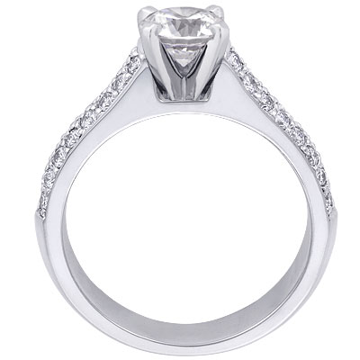 Two-Row Pave Contour Diamond Engagement Ring Setting 0.38 tcw. In 14K White Gold