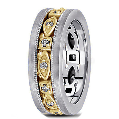 Men's Diamond Wedding Band in Two Tone Gold