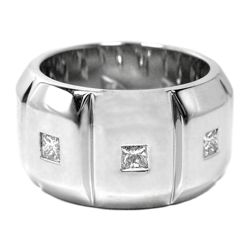 Eight Stone Princess Cut Diamonds Men's Wedding Band 1.3 tcw. In 14 White Gold