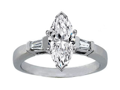 Marquise Diamond Engagement Ring Tapered Baguette Accents 0.20 tcw. In 14K  White Gold