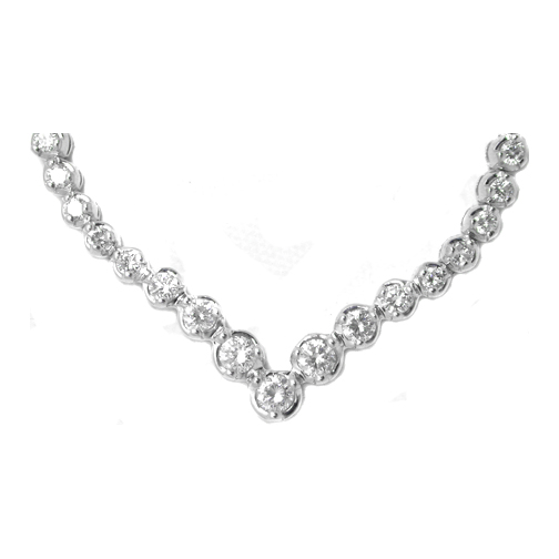 Round Diamond Graduated Tennis Necklace 1.89 tcw. In 14 Karat White Gold