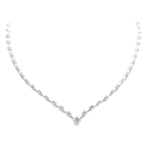 Round Diamond Graduated Evening Necklace 1.72 tcw. In 14 Karat White Gold