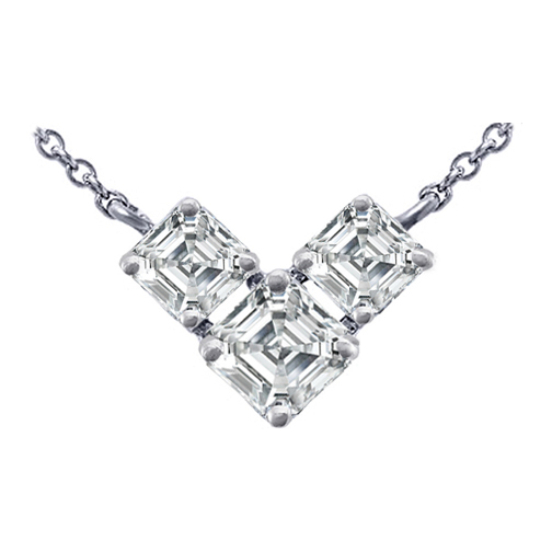 3 Stone Asscher Cut Diamond Pendant Necklace 0.75 Carat