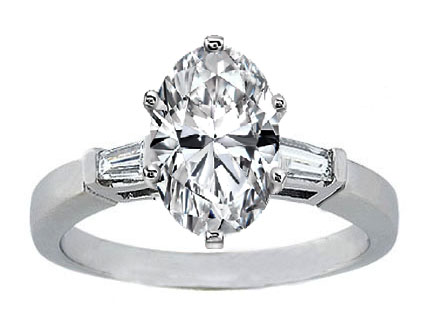 Oval Diamond Engagement Ring with Tapered Baguette Diamond Accents 0.20 tcw. In 14K White Gold