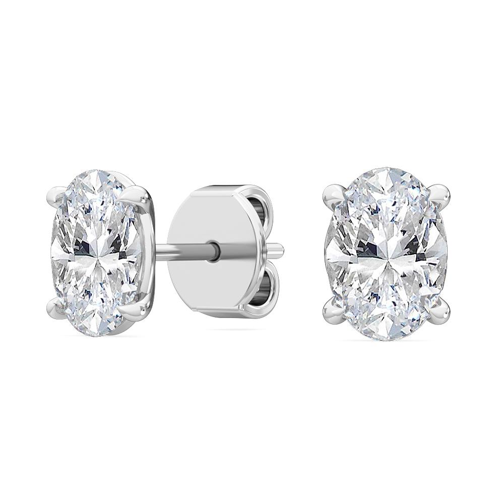 Oval Diamond Stud Earrings H Vs 0 94 Tcw In 14 Karat White Gold