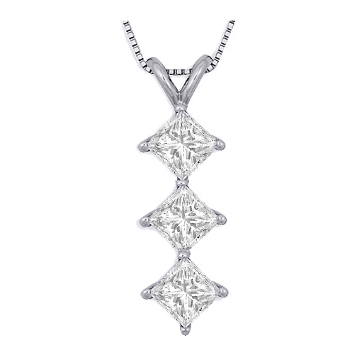 Necklaces and pendants 3 stone princess cut diamond pendant 3 stone princess cut diamond pendant necklace 046 tcw aloadofball Gallery