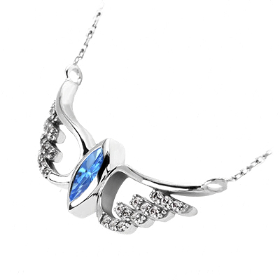 Blue Topaz Angel Wings Pendant