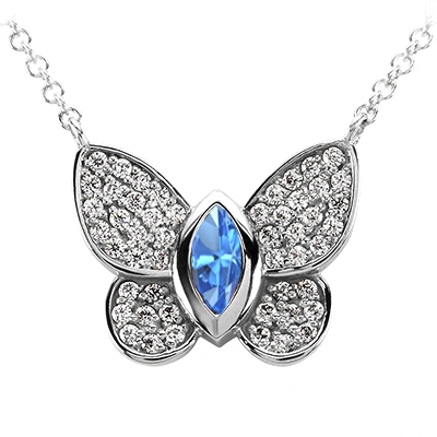 Butterfly Pendant Diamond Blue Topaz