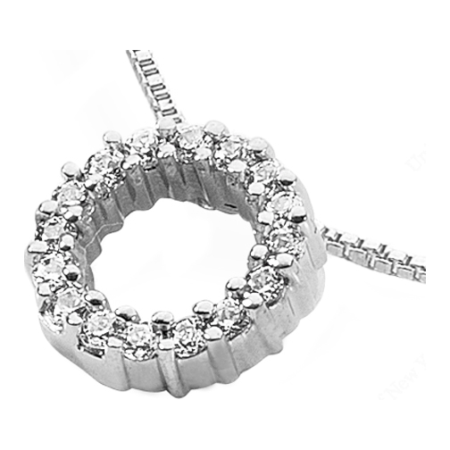 Circle of Love Round Diamond Pendant 0.55 Carat in 14 Karat White Gold