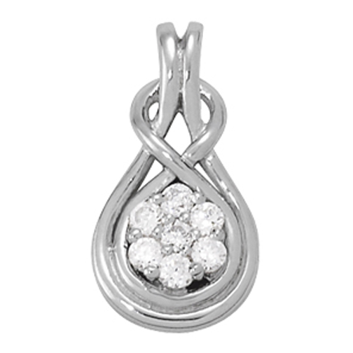 Floral Cluster Love Knot Diamond Pendant, 0.25ct