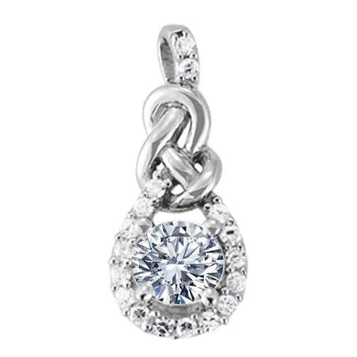 Halo Diamond Love Knot Pendant Setting for a Round Diamond