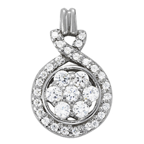 Cluster Floral Diamond Pendant, Love Knot Pave Halo