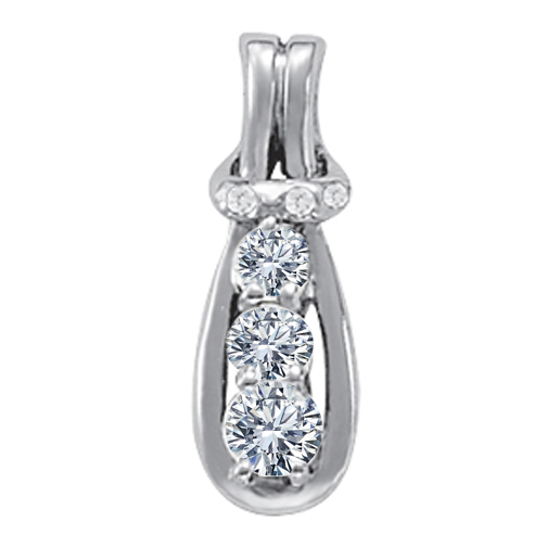 Three Stone Diamond Love Knot Pendant