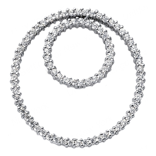 Double Circle of Love Diamond Pendant 1.25 tcw. In 14 Karat White Gold
