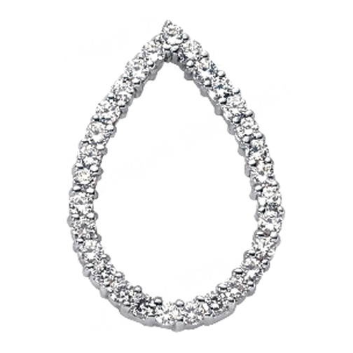 Round Diamond Tear Drop Pendant 0.54 tcw. In 14 Karat White Gold